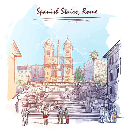 spanish steps: Spanish Steps with tourists wandering around and a young couple at the front. Watercolor imitating painted sketch. EPS10 vector illustration.