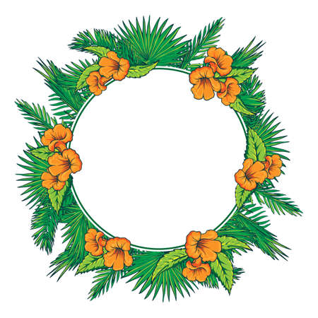 Tropical thicket. Palm tree leaves and yellow trumpetbush flowers wreath. Summer design template. Decorative symmetrical circular frame. EPS10 vector illustration. Illustration