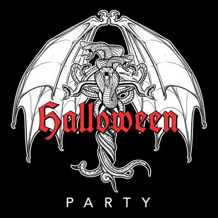 Interlaced snakes and bat wings as a sybmbolical representation of devil. Intricate hand drawing. Tattoo design. Halloween party invitation card design. Black and white. EPS10 vector illustration.