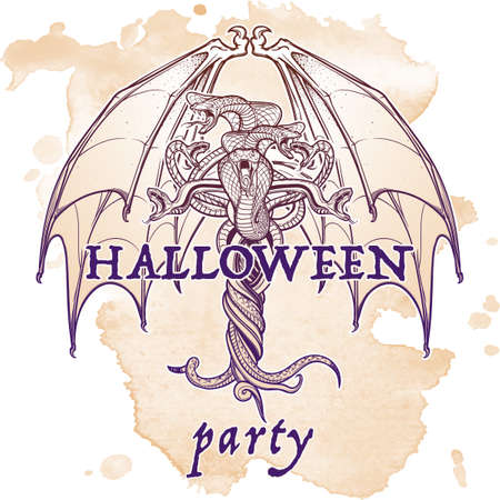 manuscript: Interlaced snakes and bat wings as a sybmbolical representation of devil. Intricate hand drawing. Tattoo design. Halloween party invitation card design. Grunge background. EPS10 vector illustration.