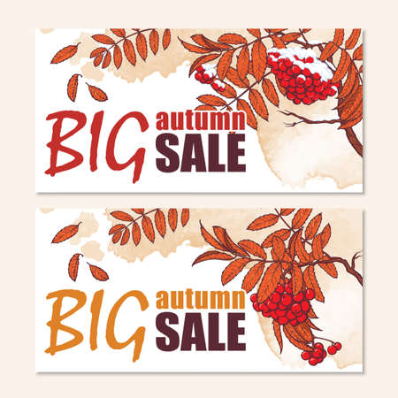 rowanberry: Seasonal sale website header or banner set. Autumn rowanberry branch. EPS10 vector illustration.