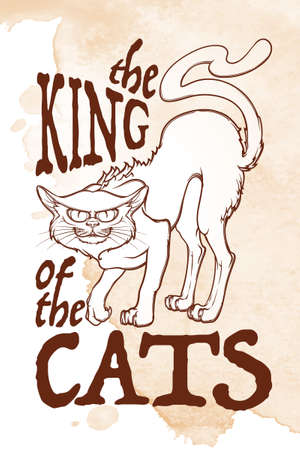 Halloween rerto illustration. The king of the cats. Intricate hand drawing. Folk tale illustration. Halloween concept design. T-shirt print. Tattoo design. EPS10 vector illustration. Illustration