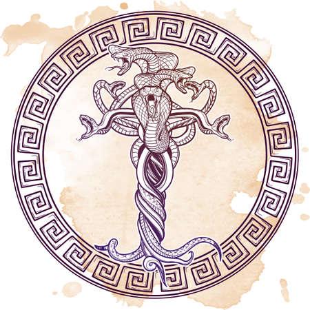 Bos verwarde slangen als een sybmbolical vertegenwoordiging van duivel. Ingewikkelde handtekening. Tattoo ontwerp. Halloween-de kaart uitstekend ontwerp van de partijuitnodiging. EPS10 vectorillustratie.