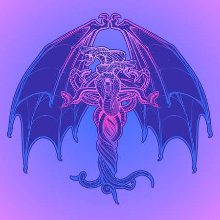 hermetic: Interlaced snakes and bat wings as a sybmbolical representation of devil. Intricate hand drawing. Tattoo design. Halloween party invitation card design. Grunge background. EPS10 vector illustration.