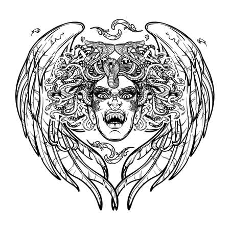 legendary: Medusa Gorgon. Ancient Greek mythological creature with face of a woman and snake hair. Folklore, legendary beast. Halloween concept. Hand drawn sketch artwork. EPS10 Isolated vector illustration.