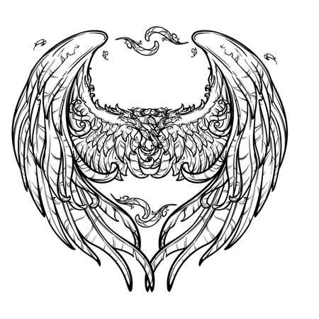 Ein Paar Engelsflügel in einer Form eines Herzens. St. Valentines day concept design. Festlicher Design-Element. Tatoo-Design. Handzeichnung auf weißen Hintergrund. EPS10 Vektor-Illustration