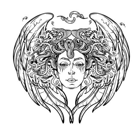medusa: Medusa Gorgon. Ancient Greek mythological creature with face of a woman and snake hair. Folklore, legendary beast. Halloween concept. Hand drawn sketch artwork. EPS10 Isolated vector illustration.