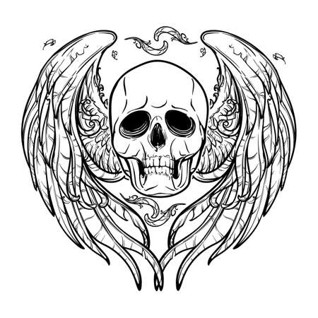 feathered: Human skull with feathered wings behind isolated on white background. Symbolic meaning. Halloween concept art. Tattoo design. Intricate hand drawing. EPS10 Vector illustration.