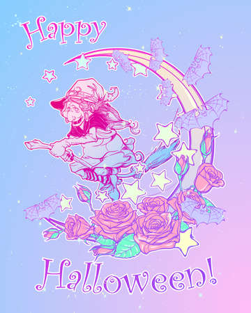 goth: Halloween witch riding the broom. Crescent, stars and roses decorative composition on the background. Pastel goth palette. Comic style intricate hand drawing. Tattoo design. EPS10 vector illustration.