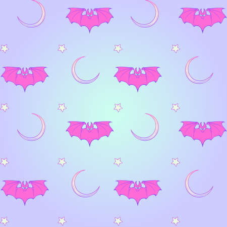 goth: Kawaii Bats stars and moon crescent. Festive seamless pattern. Pastel goth palette. Cute girly gothic style art. EPS10 vector illustration Illustration