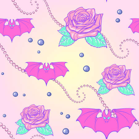 Kawaii Roses bats and pearl jewelry. Festive seamless pattern. Pastel goth palette. Cute girly gothic style art. EPS10 vector illustration