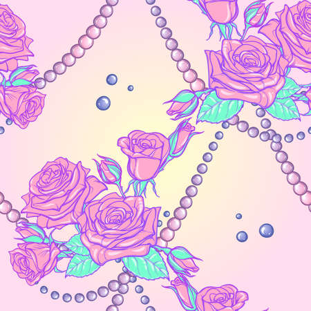 goth: Kawaii Roses bouquets and pearl jewelry. Festive seamless pattern. Pastel goth palette. Cute girly gothic style art. EPS10 vector illustration