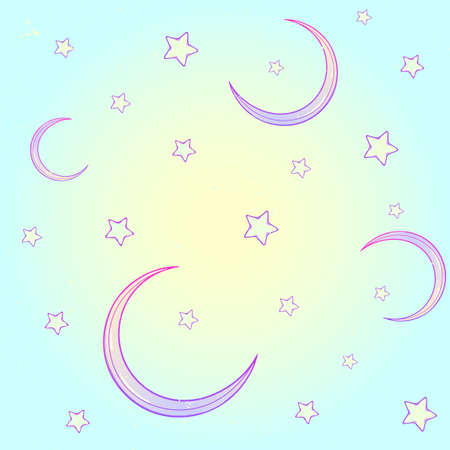 goth: Kawaii cartoon style night sky with stars and moon crescent. Festive seamless pattern. Pastel goth palette. Cute girly style art. EPS10 vector illustration Illustration