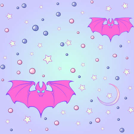 goth: Kawaii Bats stars moon crescent and pearl gems. Festive seamless pattern. Pastel goth palette. Cute girly gothic style art. EPS10 vector illustration