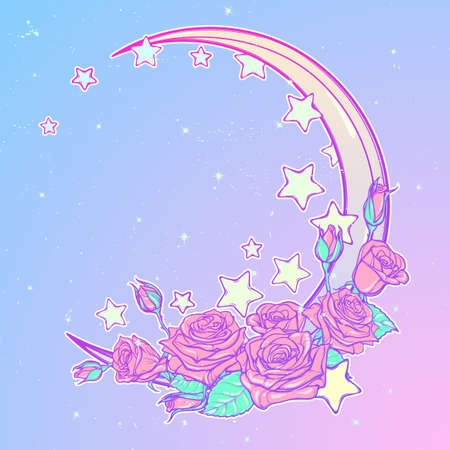 goth: Kawaii Night sky composition with Roses bouquet, stars and moon crescent. Festive background or greeting card. Pastel goth palette. Cute girly gothic style art. EPS10 vector illustration