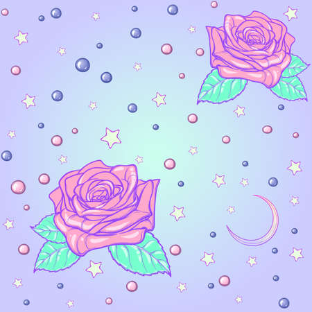 goth: Kawaii Roses stars and moon crescent. Festive seamless pattern. Pastel goth palette. Cute girly gothic style art. EPS10 vector illustration