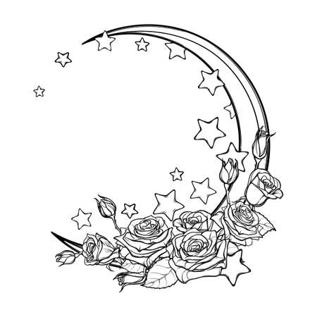 crescent: Kawaii Night sky composition with Roses bouquet, stars and moon crescent. Festive background or greeting card. Intricate hand drawing isolated on white. Cute girly art. EPS10 vector illustration