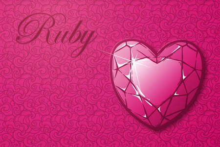 ruby gemstone: Detailed realistic drawing of a ruby gemstone on the luxury seamless texture background Template for greeting card, astrology article, business card or corporate design. EPS10 vector illustration