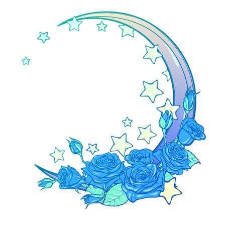 Kawaii composición Cielo nocturno con las rosas, las estrellas y la luna creciente. Fondo festivo o de felicitación. Dibujado a mano intrincado dibujo en el fondo del grunge. arte femenino de la vendimia. ilustración vectorial EPS10