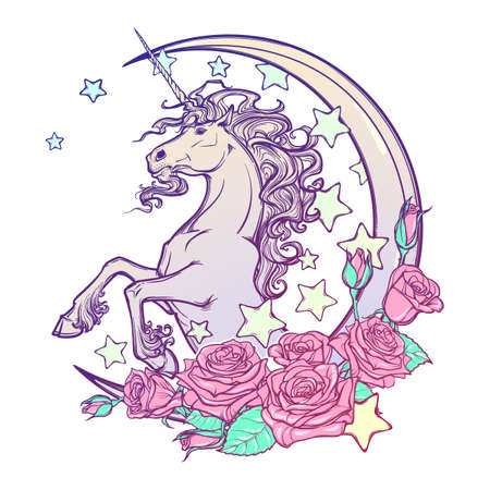 goth: Kawaii Night sky composition with Unicorn Roses stars and moon crescent isolated on whte background. Festive background or greeting card. Pastel goth palette. Cute girly art. EPS10 vector illustration