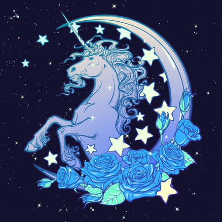 goth: Kawaii Night sky composition with Unicorn Roses,, stars and moon crescent. Festive background or greeting card. Pastel goth palette. Cute girly gothic style art. EPS10 vector illustration Illustration