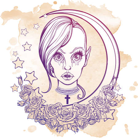 sexy halloween girl: Young sexy teenaged girl with kawaii weeping eyes, sensual lips and trandy haircut. Gothic Halloween concept art. Frame of stars roses and moon. Tattoo design. EPS10 vector illustration. Illustration