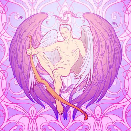 Young sexy cupid sitting with his bough. Seamless pattern background. Pinup and art Nouveau eclectic style. St Valentines day gay friendly celebration design. Tattoo design. EPS10 vector illustration