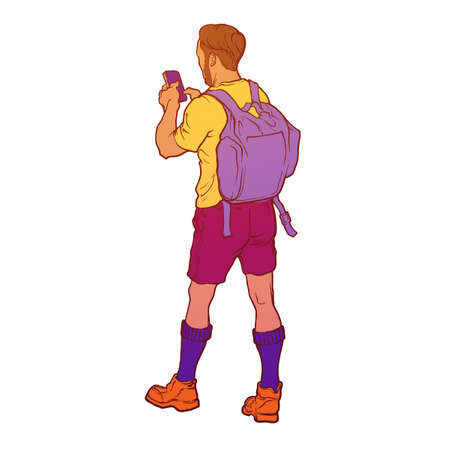 Summer active laisure. Young trendy looking tourist. Back view. Isolated on white background. EPS10 vector illustration.