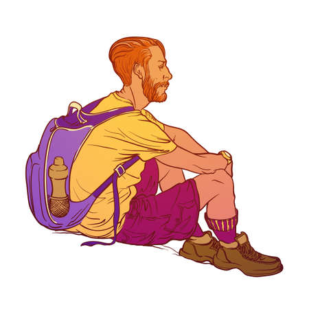 Summer laisure activity. Sitting young hipster backpacker. Sketch style drawing isolated on white background. EPS10 vector illustration.