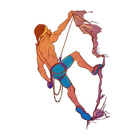 夏のスポーツ活動。ロック ・ クライマー。スケッチ アスレチック男は崖を登るします。白い背景に分離された手描きの彩色スケッチ。EPS10 のベク