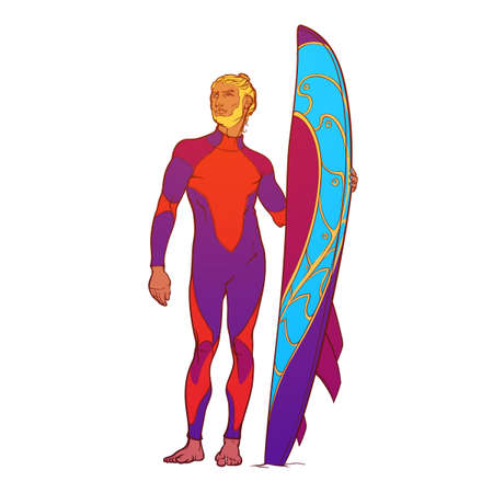 fullbody: Summer water sport activities. Athletic shaped surfer wearing fullbody drysuit with decorated surfboard. Front view. Hand drawn painted sketch isolated on white background. EPS10 vector illustration. Illustration