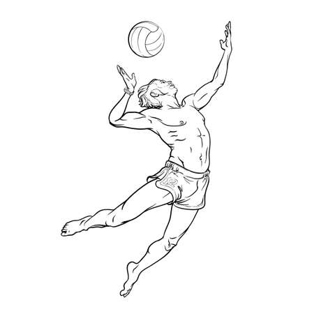 overhead: Summer water sport activities. Young athletic man serving an overhead ball in beach volleyball. Dynamic pose. Hand drawn sketch isolated on white background. EPS10 vector illustration.