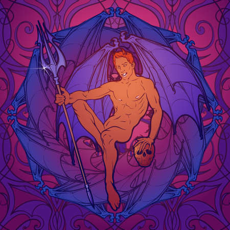 gay men: Young sexy demon with bat wings sitting and holding trident and human skull. Pinup and art Nouveau eclectic style. Intricate hand drawing, rich detailed beckground. Gay hint. EPS10 vector illustration Illustration