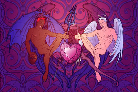 Angel and demon. Pinup and art Nouveau eclectic style. Intricate hand drawing, rich detailed beckground. St Valentines day gay friendly celebration design. Tattoo design. EPS10 vector illustration Illustration