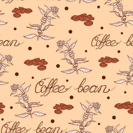 coffe tree: Seamless coffee background with branch of coffee and coffee beans. Hand drawn illustration in sketch style. EPS10 vector illustration