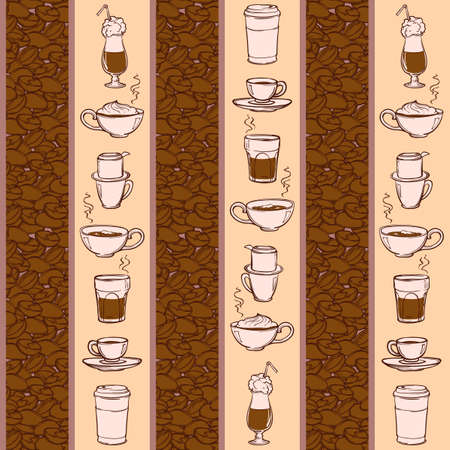 coffe beans: Barista tools and coffe cups. Equipment for various ways of coffee brewing and drinking. Coffee beans. Doodle style seamless pattern. Vertical rhythm. EPS10 vector illustration.