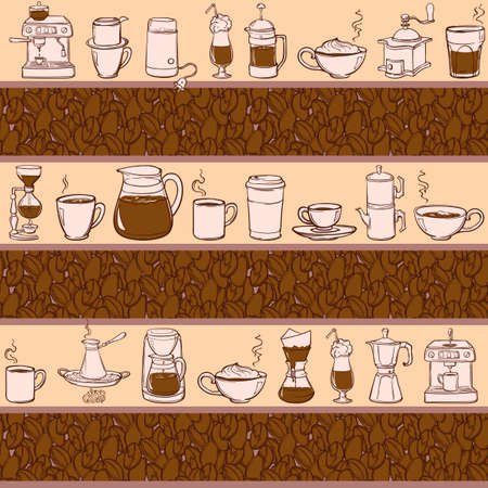 Barista tools and coffe cups. Equipment for various ways of coffee brewing and drinking. Coffee beans. Doodle style seamless pattern. Horizontal rhythm. vector illustration.