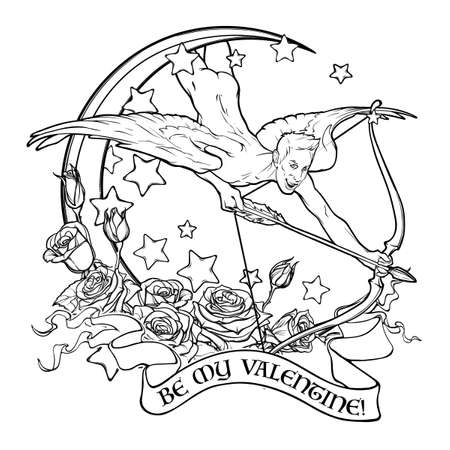 sexy gay: Flying sexy gay cupid with Moon and Roses. Text banner. Male pinup and art Nouveau eclectic style. St Valentines day celebration design. Tattoo design.vector illustration