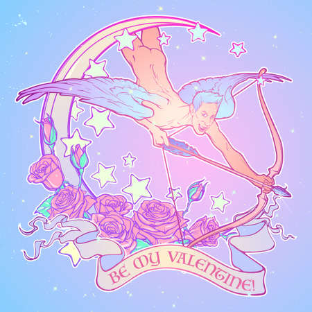 Flying sexy gay cupid with Moon and Roses. Text banner. Male pinup and art Nouveau eclectic style. St Valentines day celebration design. Pastel goth palette. Tattoo design.vector illustration Illustration