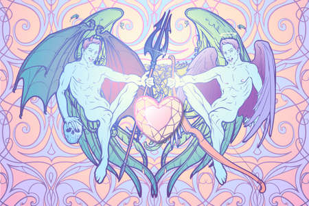 lucifer: Angel and demon. Pinup and art Nouveau eclectic style. Intricate hand drawing, rich detailed beckground. St Valentines day gay friendly celebration design. Tattoo design.vector illustration