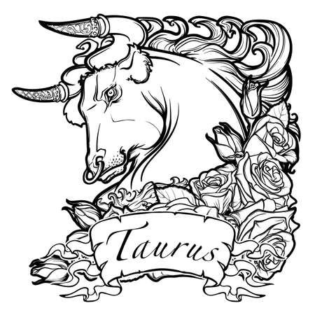 zodiac anger: Zodiac sign of Taurus. with a decorative frame of roses Astrology concept art. Tattoo design. Black and white sketch isolated on white background. vector illustration.