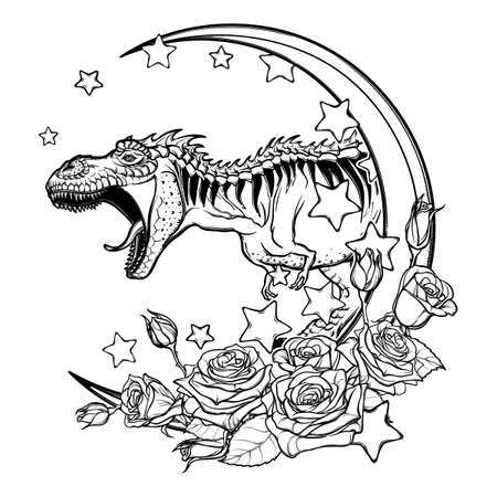 cretaceous: Detailed sketch style drawing of the roaring tyrannosaurus rex on a Moon and roses frame. Tattoo design. Concept art drawing. Sketch Isolated on white background. vector illustration. Illustration