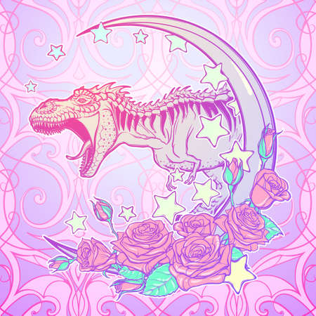 Detailed sketch style drawing of the roaring tyrannosaurus rex on Kawaii Moon and roses frame. Tattoo design. Concept art drawing. Pastel goth pallette. vector illustration.