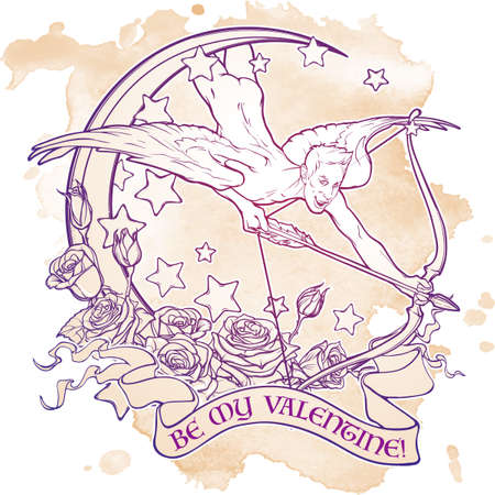 sexy gay: Flying sexy gay cupid with Moon and Roses. Text banner. Male pinup and art Nouveau eclectic style. St Valentines day celebration design. Tattoo design. EPS10 isolated vector illustration