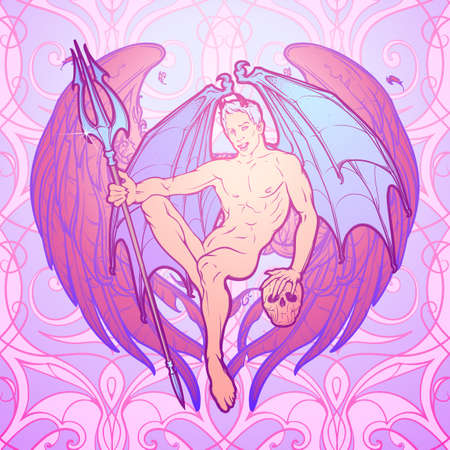 hint: Beautiful demon sitting and holding trident and scull. Angel wings and pattern behind. Pinup and art Nouveau eclectic style. Tattoo design. Halloween concept art. Gay hint. EPS10 vector illustration
