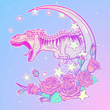 pallette: Detailed sketch style drawing of the roaring tyrannosaurus rex on Kawaii Moon and roses frame. Tattoo design. Concept art drawing. Pastel goth pallette. EPS10 vector illustration.