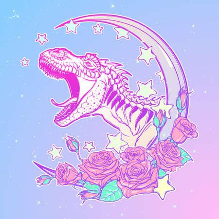 pallette: Détail de dessin de style croquis du tyrannosaurus rex rugissant sur Kawaii Lune et roses cadre. conception de tatouage. Concept dessin d'art. pallette goth Pastel. EPS10 illustration vectorielle.