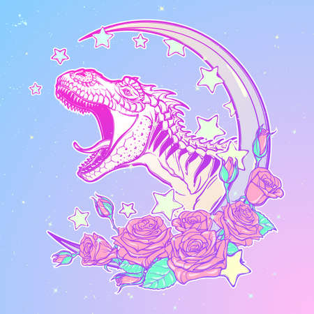Detailed sketch style drawing of the roaring tyrannosaurus rex on Kawaii Moon and roses frame. Tattoo design. Concept art drawing. Pastel goth pallette. EPS10 vector illustration.