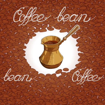 Seamless coffee background with coffee beans and cargo package of coffee grains. Hand drawn illustration in sketch style. Hand written calligraphic sign. EPS10 vector illustration Illustration