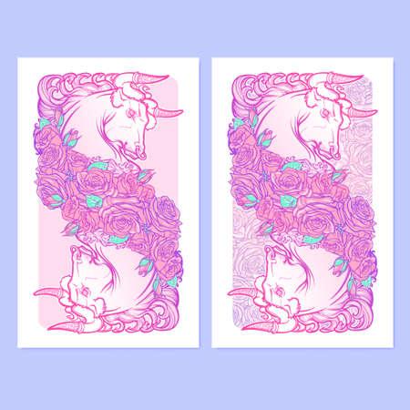pallette: Signe astrologique du Taureau avec un cadre décoratif de roses Astrologie art conceptuel. conception de tatouage. Croquis au pastel pallette isolé sur élégant motif de fond. illustration vectorielle. Illustration